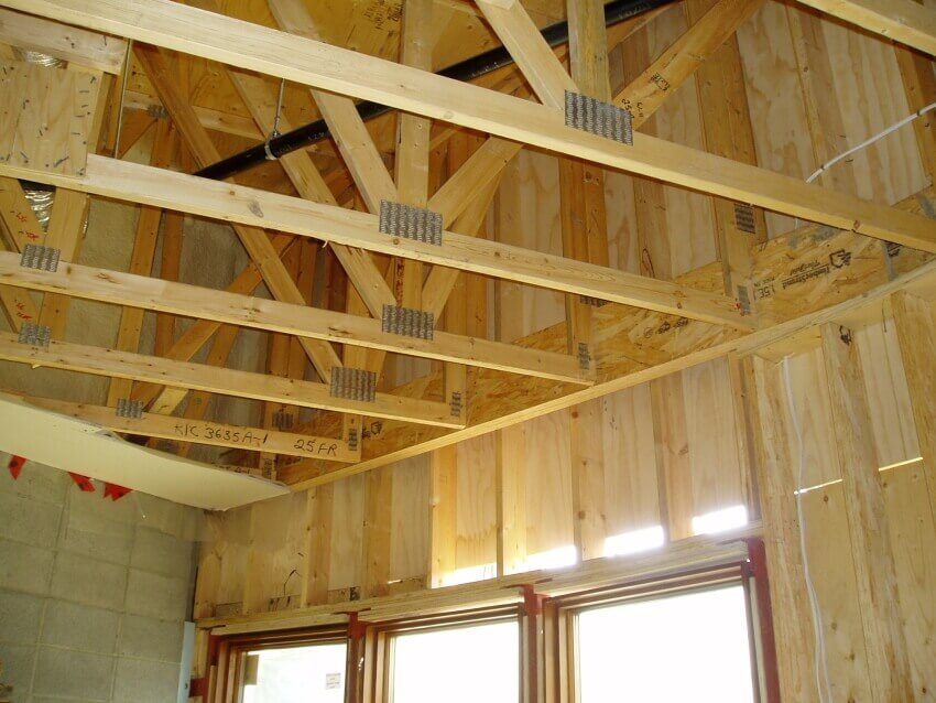 Wooden Roof Trusses In Home Royalty Free Stock Photo